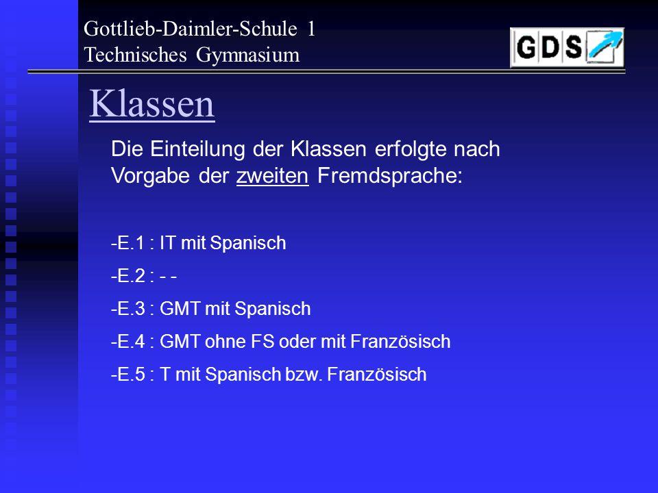 Klassen Gottlieb-Daimler-Schule 1 Technisches Gymnasium