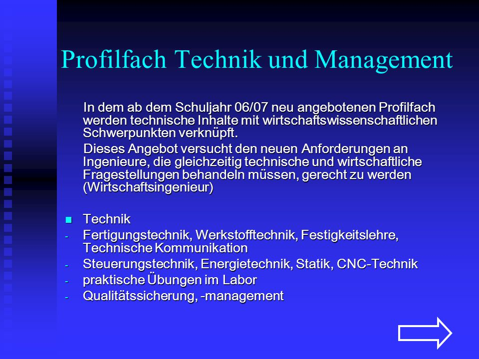 Profilfach Technik und Management