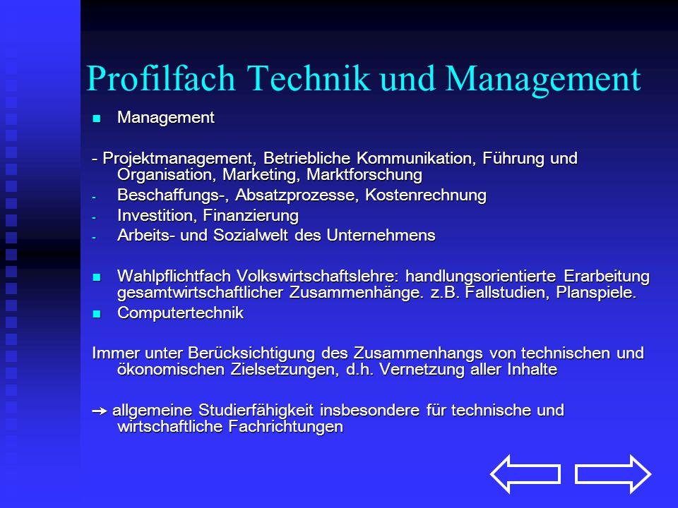 Profilfach Technik und Management