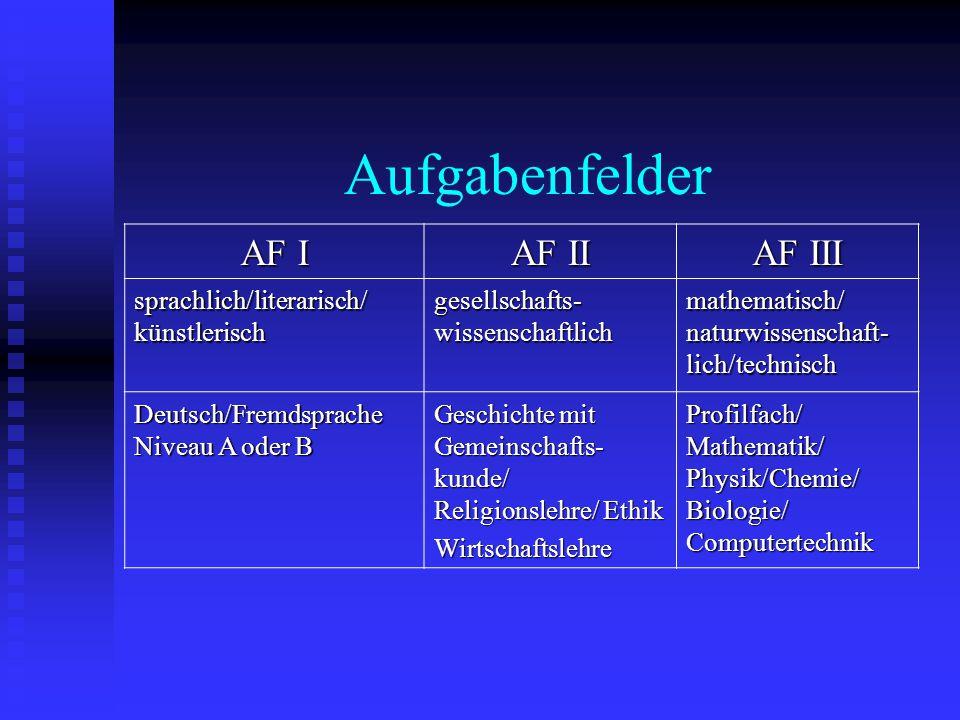 Aufgabenfelder AF I AF II AF III sprachlich/literarisch/ künstlerisch