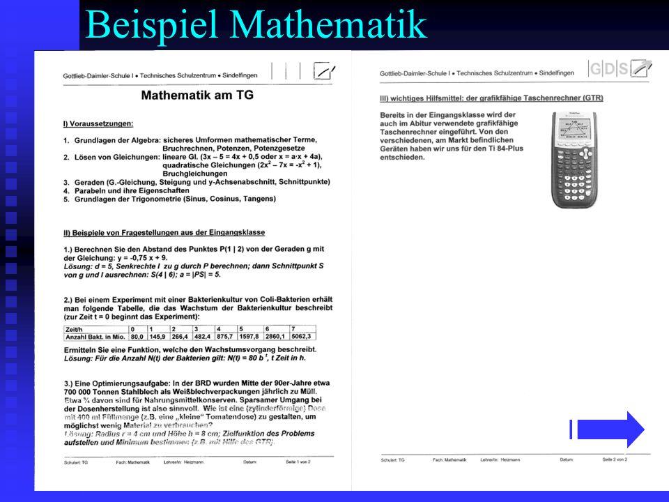 Beispiel Mathematik
