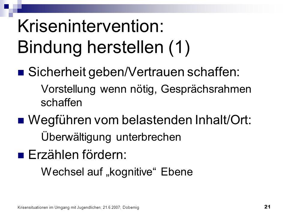 Krisenintervention: Bindung herstellen (1)