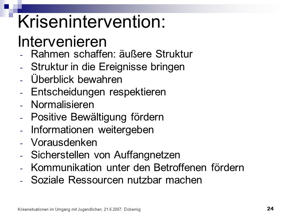 Krisenintervention: Intervenieren
