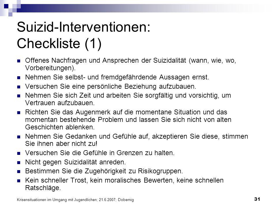 Suizid-Interventionen: Checkliste (1)