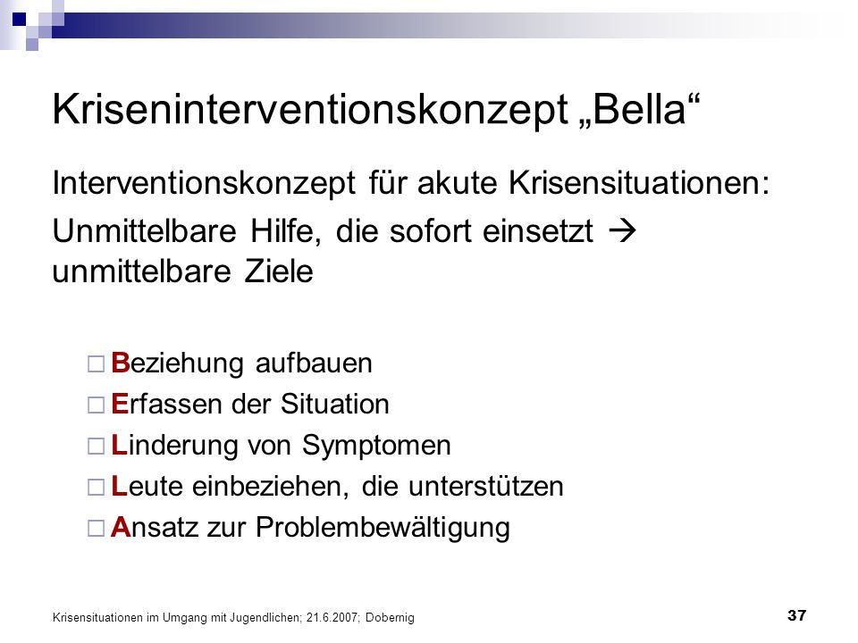"Kriseninterventionskonzept ""Bella"