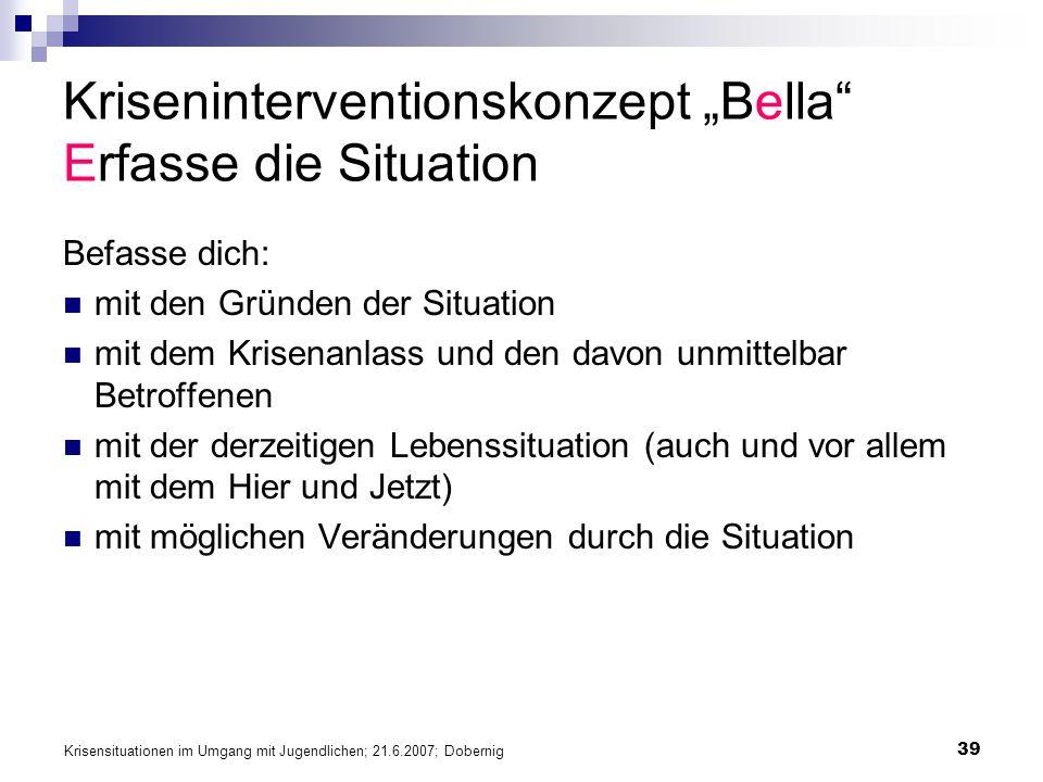 """Kriseninterventionskonzept """"Bella Erfasse die Situation"""