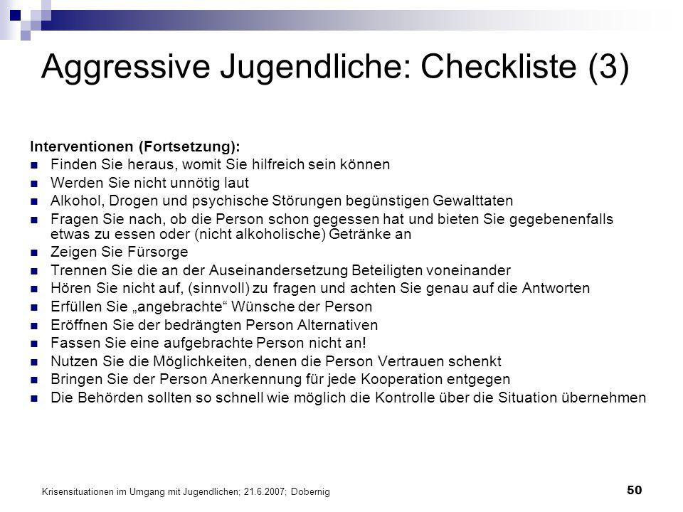 Aggressive Jugendliche: Checkliste (3)