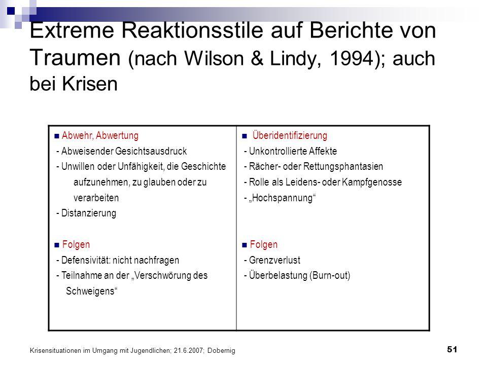 Extreme Reaktionsstile auf Berichte von Traumen (nach Wilson & Lindy, 1994); auch bei Krisen
