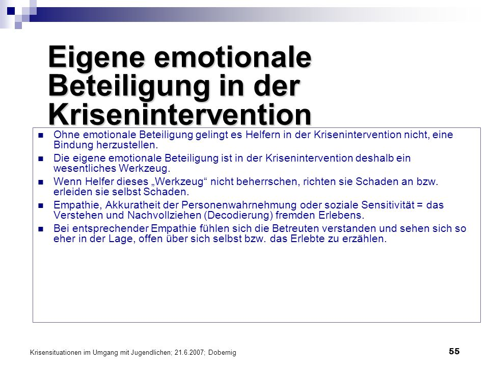 Eigene emotionale Beteiligung in der Krisenintervention