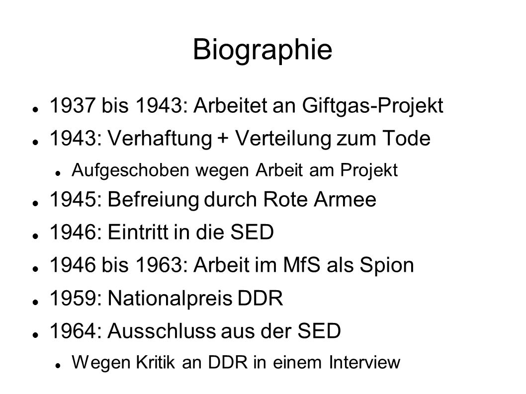 Biographie 1937 bis 1943: Arbeitet an Giftgas-Projekt
