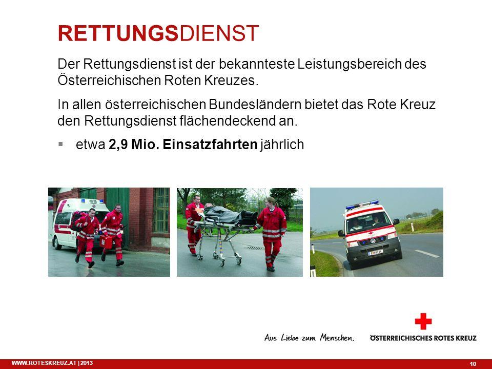 RETTUNGSDIENST Der Rettungsdienst ist der bekannteste Leistungsbereich des Österreichischen Roten Kreuzes.