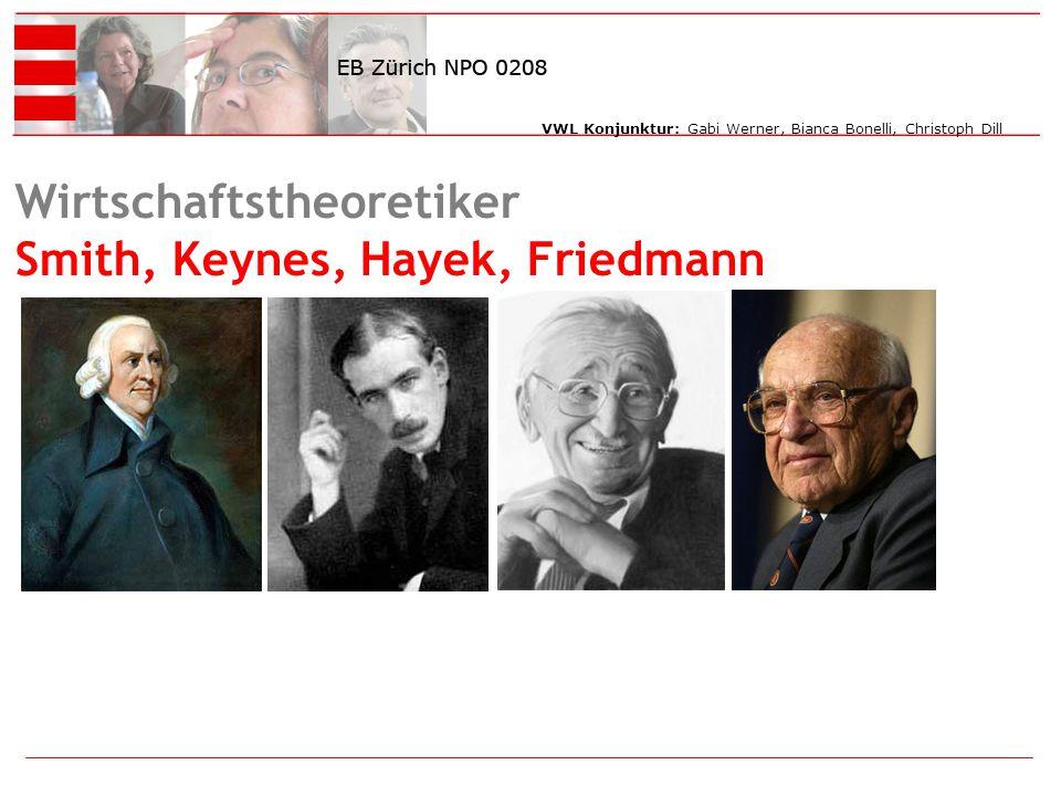 Wirtschaftstheoretiker Smith, Keynes, Hayek, Friedmann