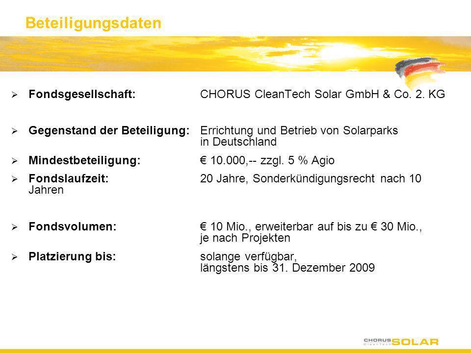 Beteiligungsdaten Fondsgesellschaft: CHORUS CleanTech Solar GmbH & Co. 2. KG.