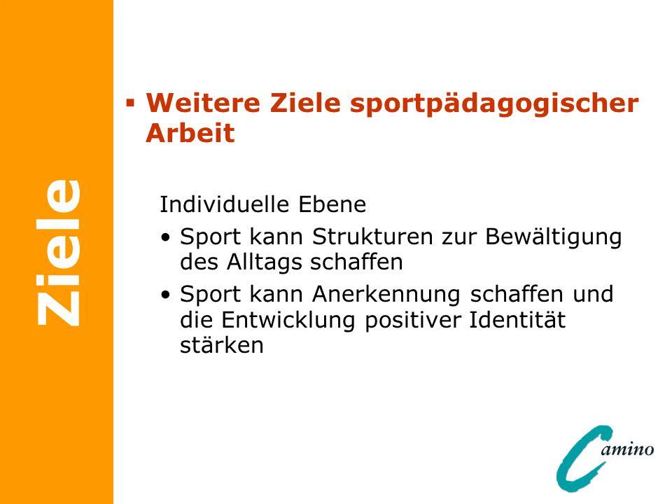 Ziele Weitere Ziele sportpädagogischer Arbeit Individuelle Ebene
