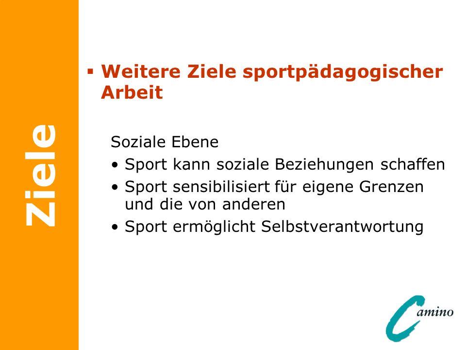 Ziele Weitere Ziele sportpädagogischer Arbeit Soziale Ebene