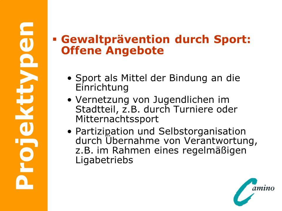 Projekttypen Gewaltprävention durch Sport: Offene Angebote