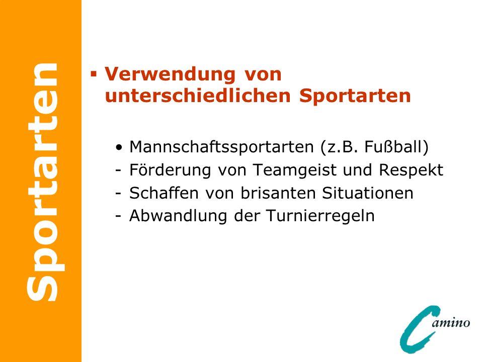 Sportarten Verwendung von unterschiedlichen Sportarten