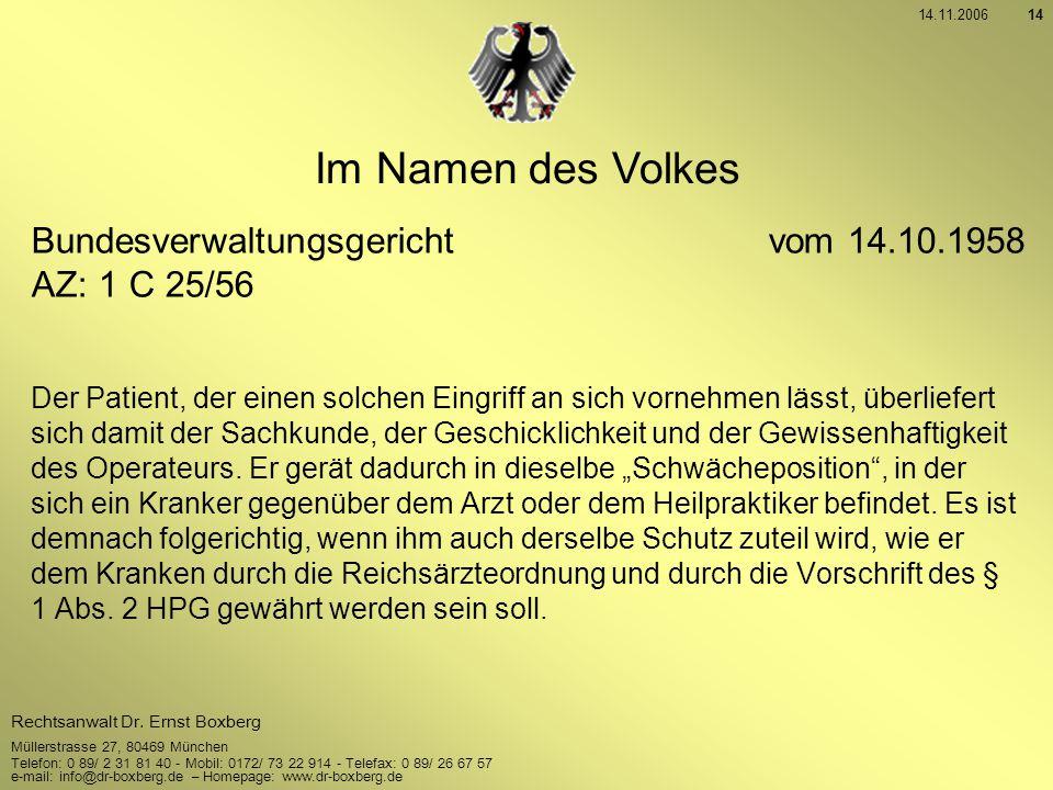 Im Namen des Volkes Bundesverwaltungsgericht vom 14.10.1958