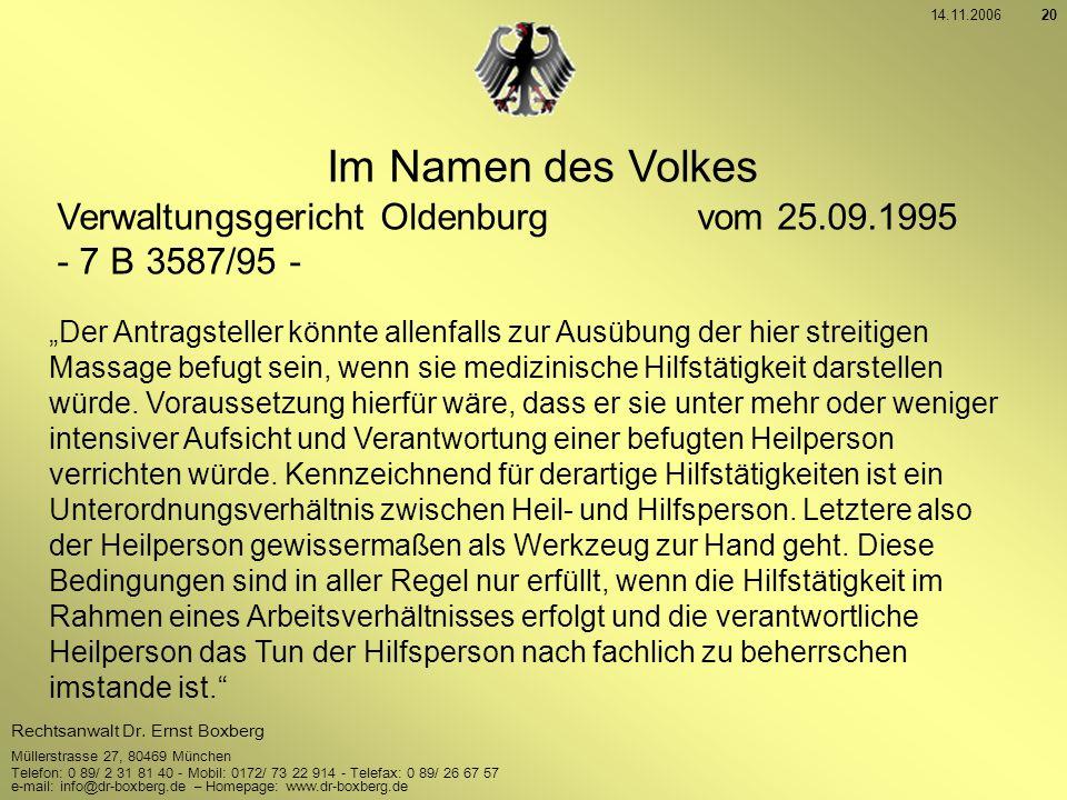 Im Namen des Volkes Verwaltungsgericht Oldenburg vom 25.09.1995