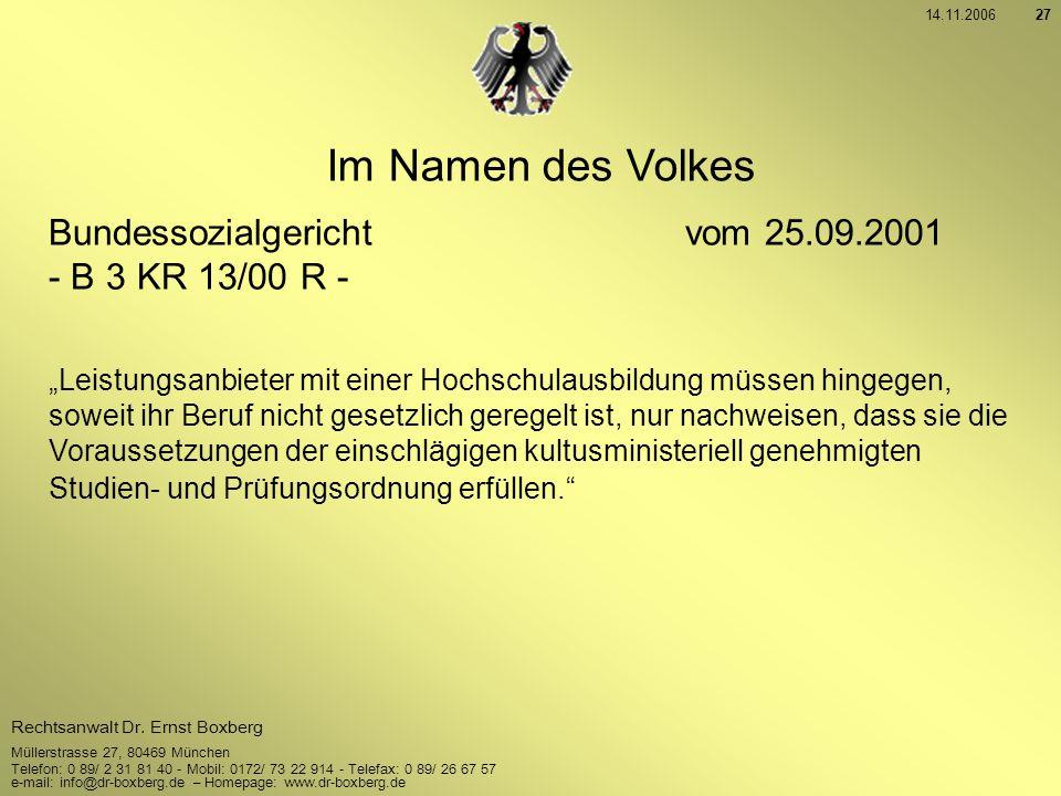 Im Namen des Volkes Bundessozialgericht vom 25.09.2001