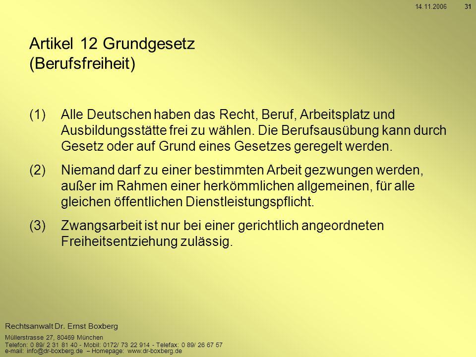 Artikel 12 Grundgesetz (Berufsfreiheit)