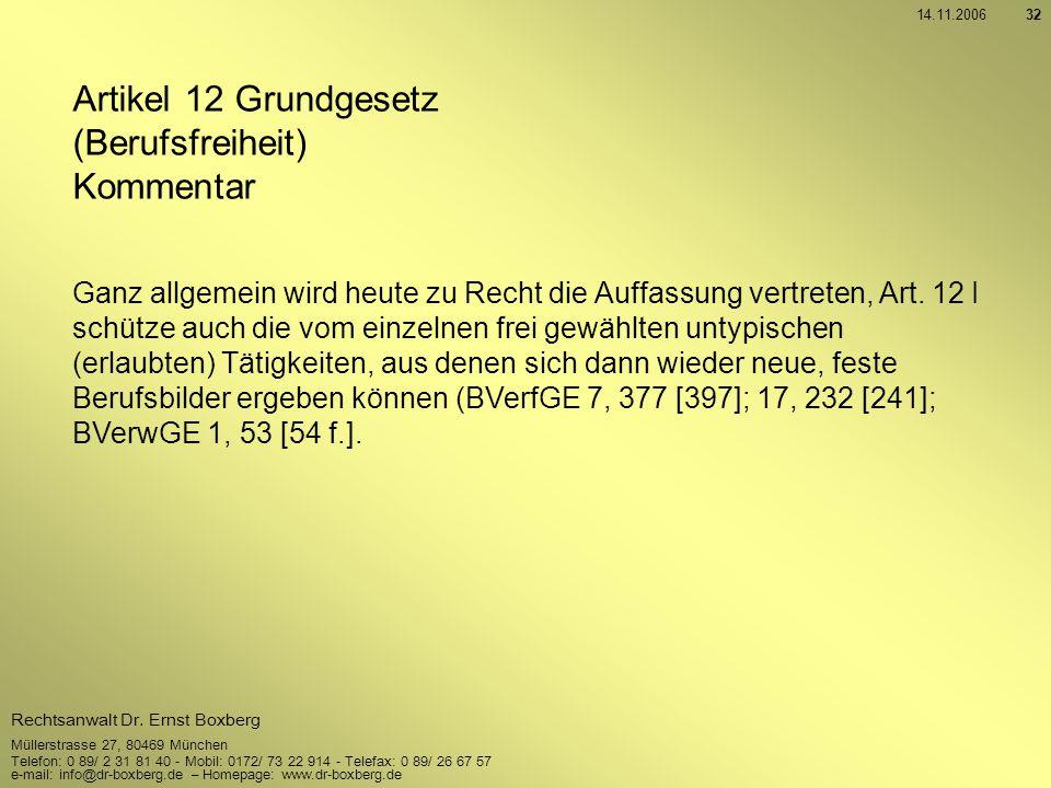 Artikel 12 Grundgesetz (Berufsfreiheit) Kommentar