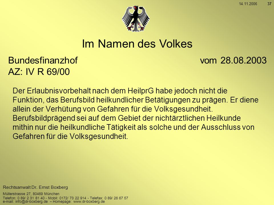 Im Namen des Volkes Bundesfinanzhof vom 28.08.2003 AZ: IV R 69/00