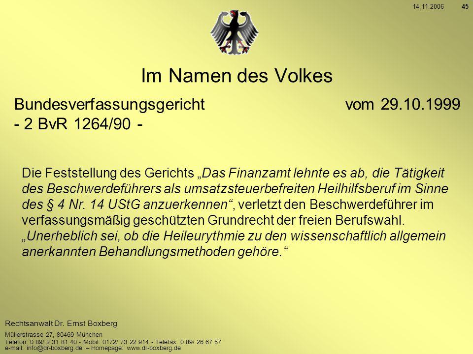 Im Namen des Volkes Bundesverfassungsgericht vom 29.10.1999