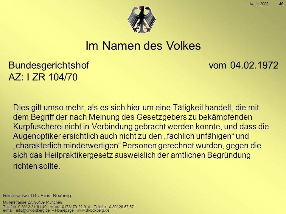 Im Namen des Volkes Bundesgerichtshof vom 04.02.1972 AZ: I ZR 104/70