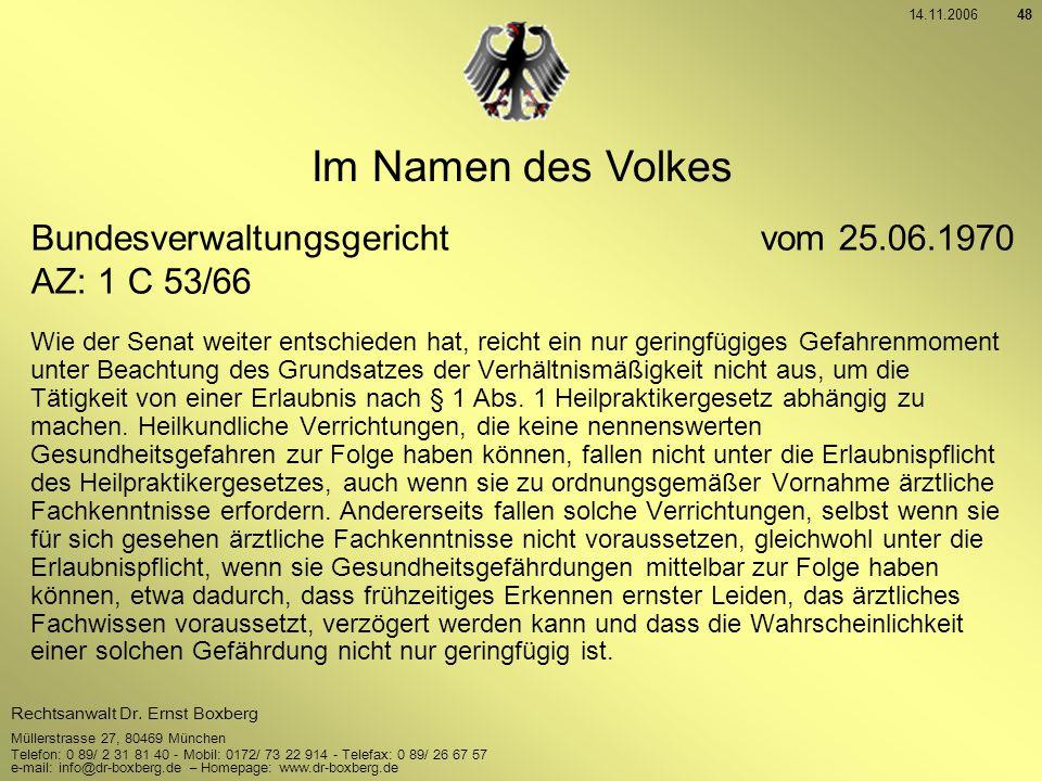 Im Namen des Volkes Bundesverwaltungsgericht vom 25.06.1970