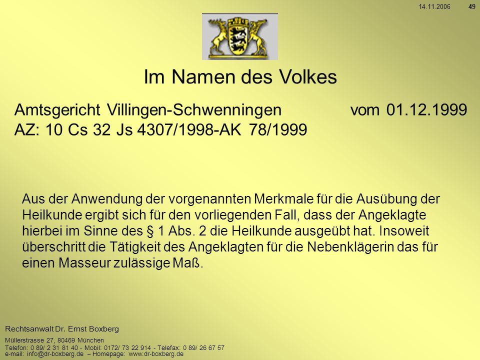 Im Namen des Volkes Amtsgericht Villingen-Schwenningen vom 01.12.1999