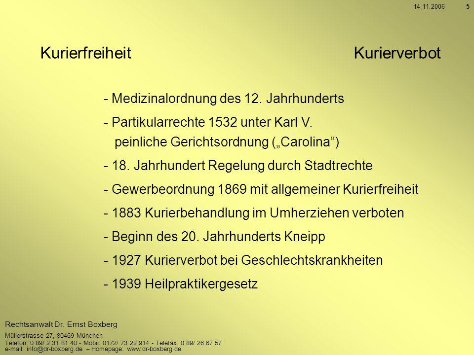 Kurierfreiheit Kurierverbot - Medizinalordnung des 12. Jahrhunderts