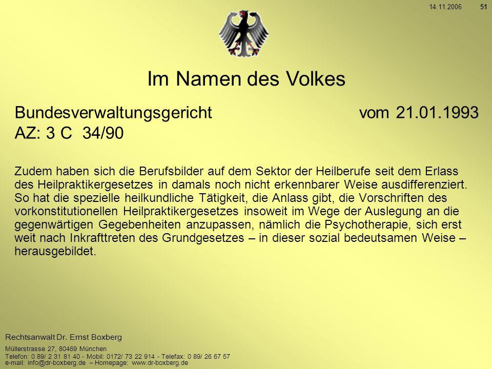 Im Namen des Volkes Bundesverwaltungsgericht vom 21.01.1993