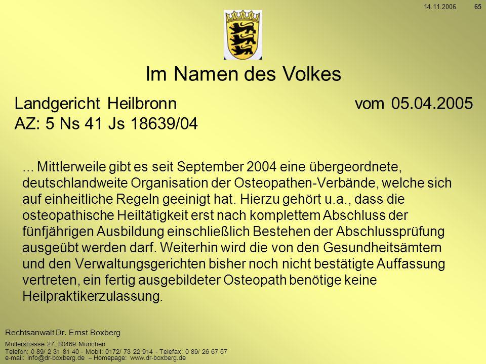 Im Namen des Volkes Landgericht Heilbronn vom 05.04.2005