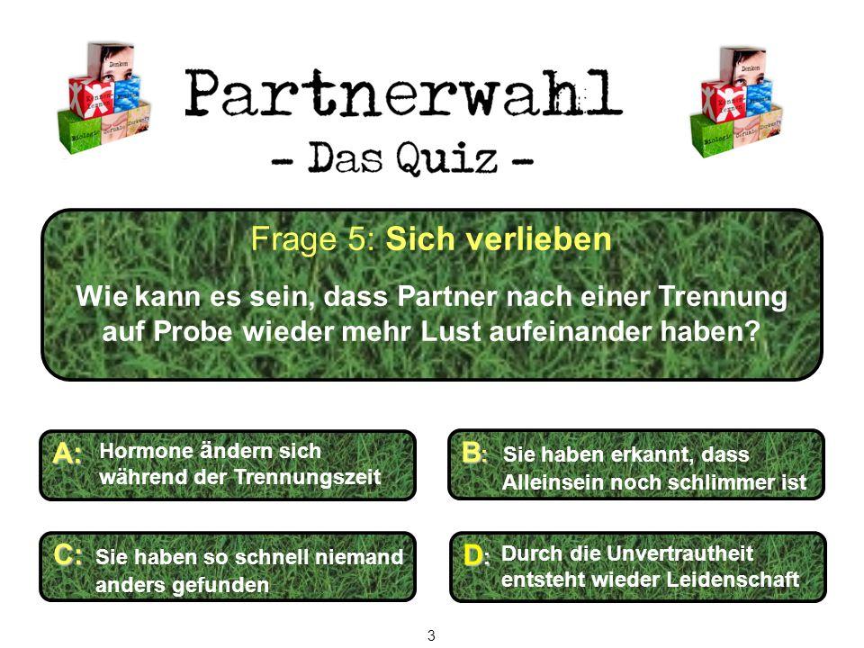 Frage 5: Sich verlieben Wie kann es sein, dass Partner nach einer Trennung auf Probe wieder mehr Lust aufeinander haben