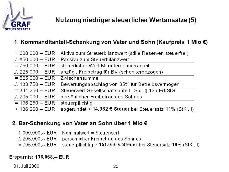 Nutzung niedriger steuerlicher Wertansätze (5)