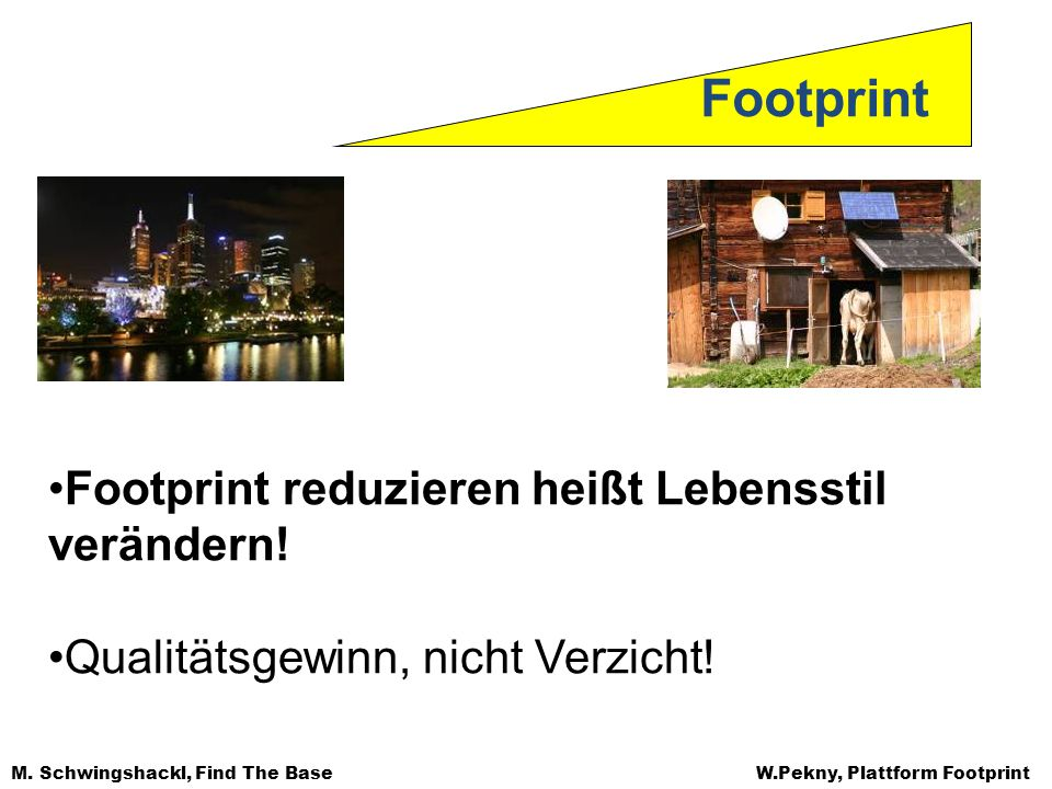 Footprint Footprint reduzieren heißt Lebensstil verändern!