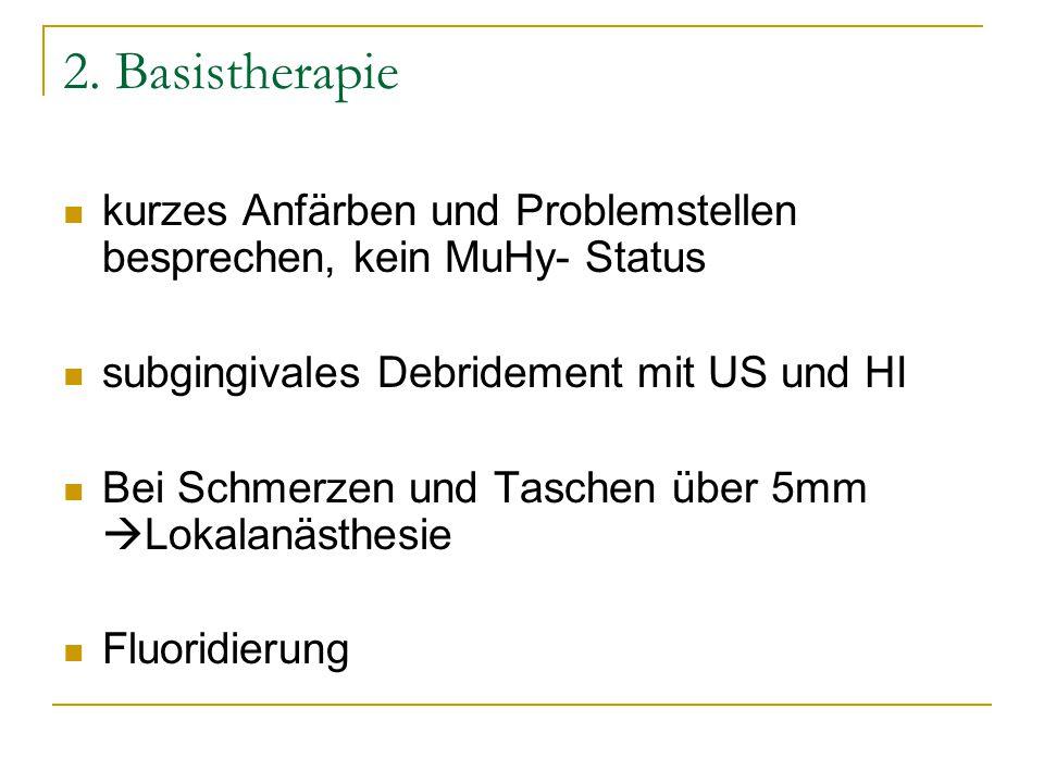 2. Basistherapie kurzes Anfärben und Problemstellen besprechen, kein MuHy- Status. subgingivales Debridement mit US und HI.