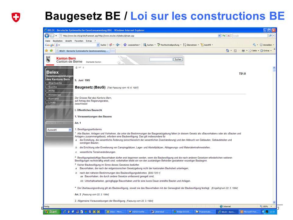 Baugesetz BE / Loi sur les constructions BE