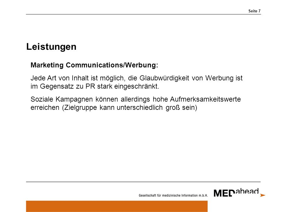 Leistungen Marketing Communications/Werbung: