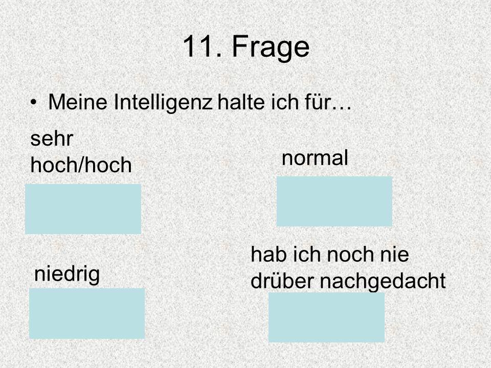 11. Frage Meine Intelligenz halte ich für… sehr hoch/hoch normal