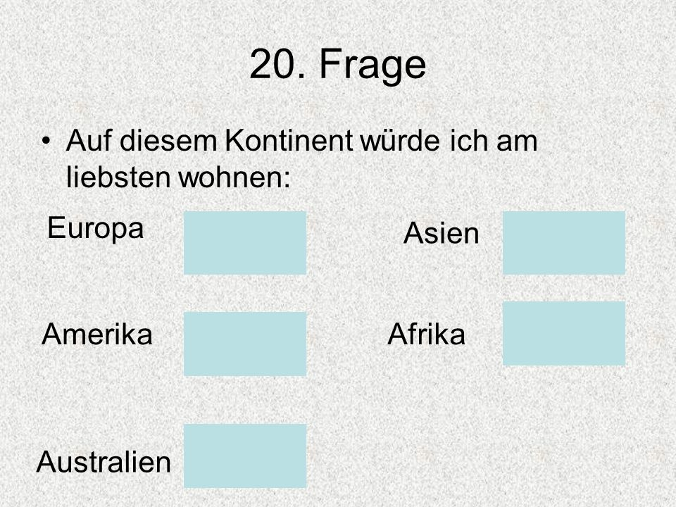 20. Frage Auf diesem Kontinent würde ich am liebsten wohnen: Europa