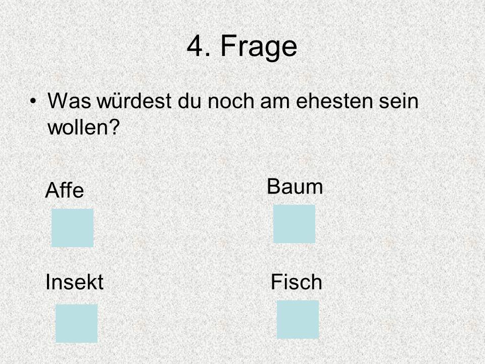 4. Frage Was würdest du noch am ehesten sein wollen Baum Affe Insekt