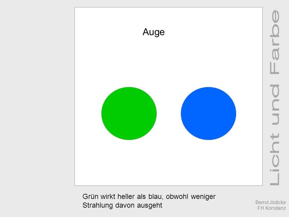 Auge Grün wirkt heller als blau, obwohl weniger