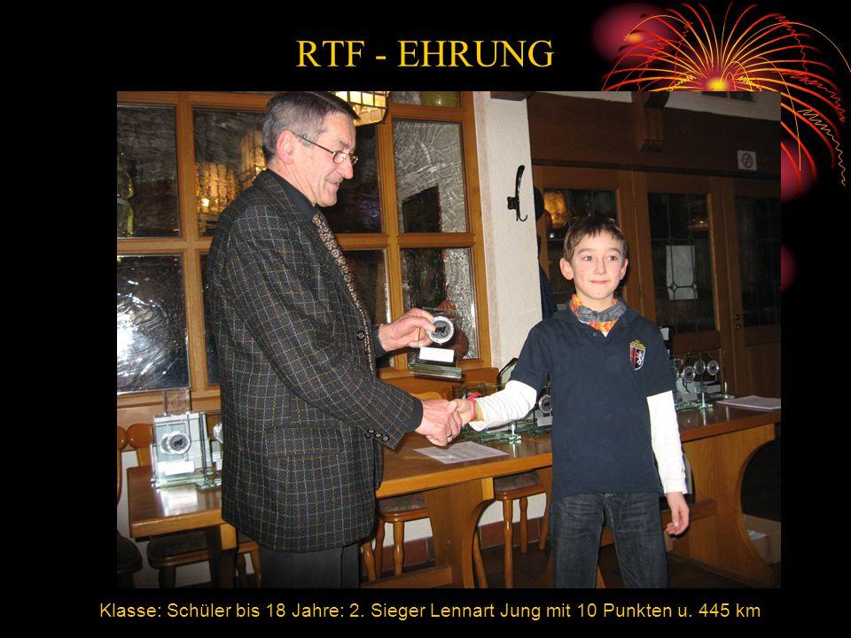 RTF - EHRUNG Klasse: Schüler bis 18 Jahre: 2. Sieger Lennart Jung mit 10 Punkten u. 445 km