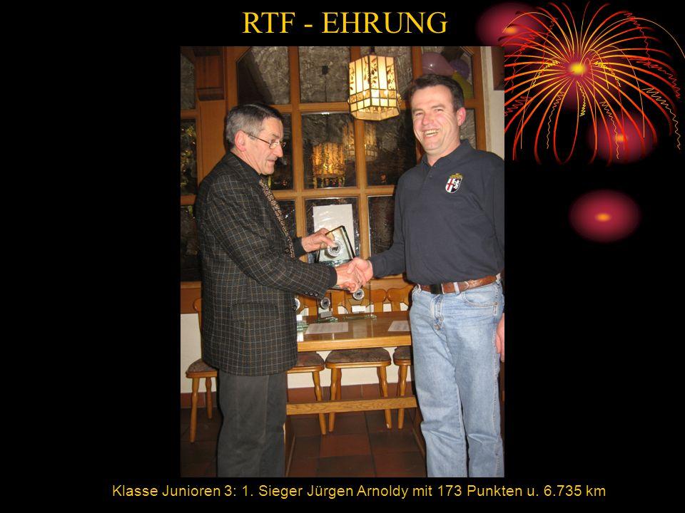 RTF - EHRUNG Jürgen Klasse Junioren 3: 1. Sieger Jürgen Arnoldy mit 173 Punkten u. 6.735 km