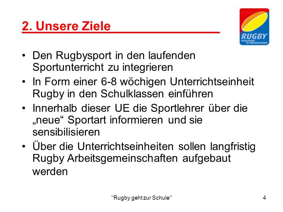 2. Unsere Ziele Den Rugbysport in den laufenden Sportunterricht zu integrieren.