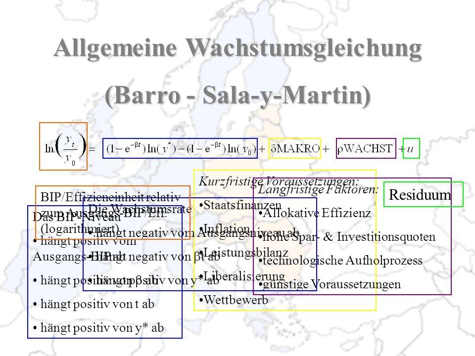 Allgemeine Wachstumsgleichung (Barro - Sala-y-Martin)