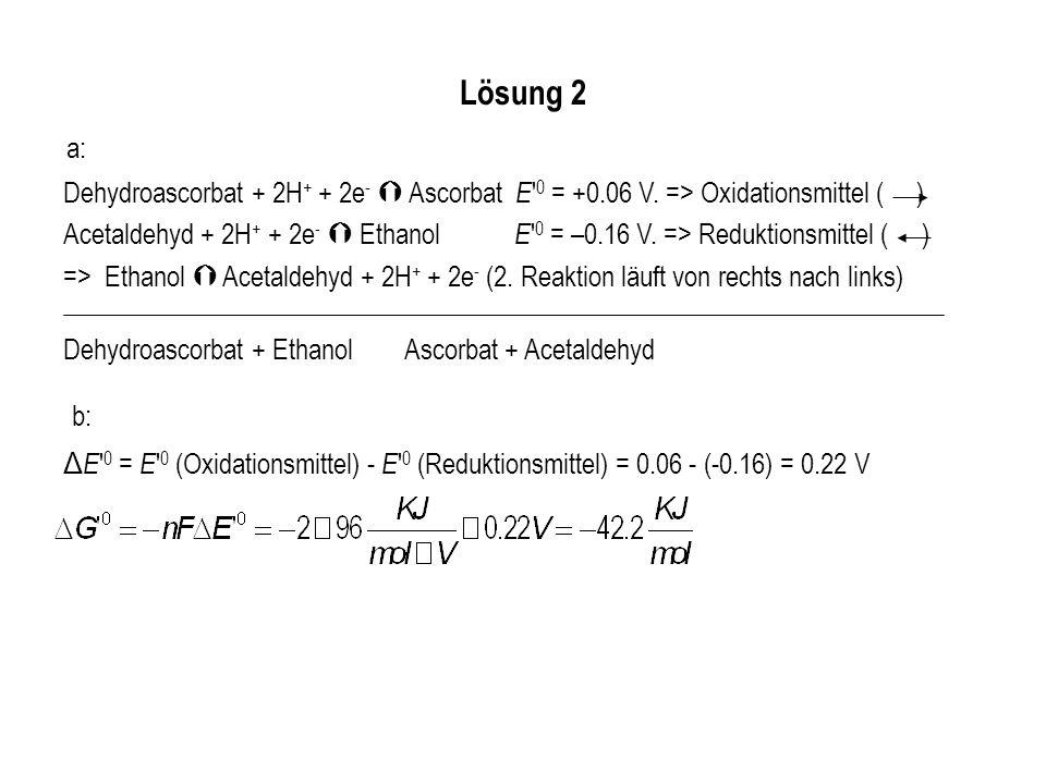 Lösung 2 a: Dehydroascorbat + 2H+ + 2e-  Ascorbat E 0 = +0.06 V. => Oxidationsmittel ( )