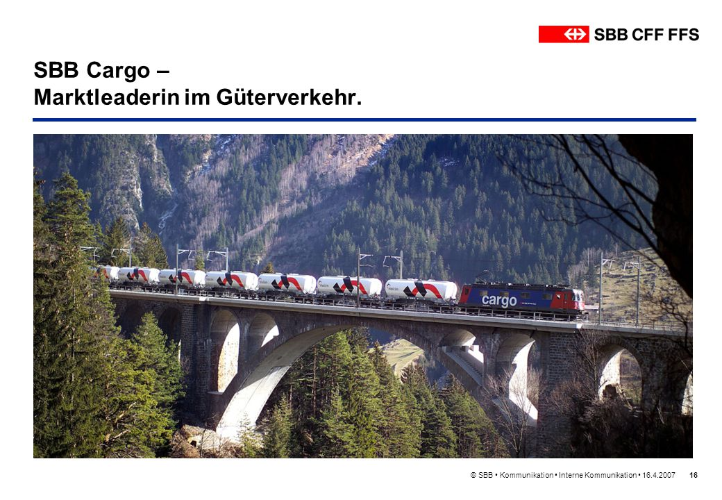 SBB Cargo – Marktleaderin im Güterverkehr.